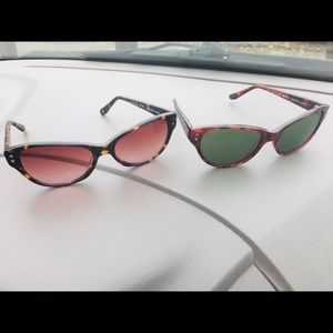 Two pairs of sunglasses or prescription frame.